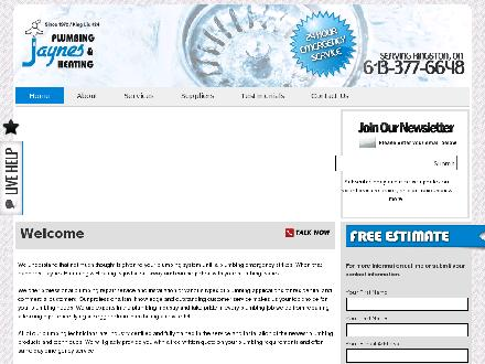 Jaynes Plumbing & Heating (613-417-0658) - Website thumbnail - http://www.jaynesplumbingandheating.com