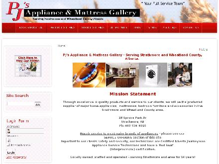 PJ's Appliance & Mattress Gallery (403-934-6919) - Onglet de site Web - http://www.pjsappliances.com
