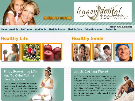 Legacy Dental (403-332-6272) - Onglet de site Web - http://www.legacydental.ca