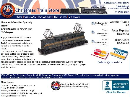 Christmas Train Store (613-592-9402) - Onglet de site Web - http://www.027trains.com