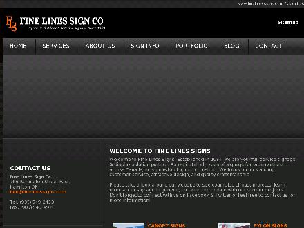 Fine Lines Sign Co (905-549-2433) - Website thumbnail - http://www.finelinessigns.com