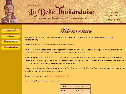 La Belle Thailandaise (514-843-6269) - Onglet de site Web - http://www.labellethailandaise.com