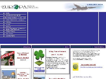 Europa Travel Ltd (780-424-6481) - Onglet de site Web - http://www.flyeurope.com
