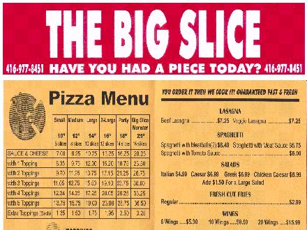 The Big Slice (416-977-8451) - Onglet de site Web - http://www.thebigslicepizza.com