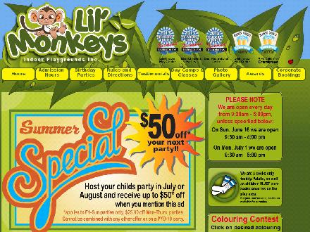 Lil' Monkeys Indoor Playgrounds Inc (905-632-4200) - Onglet de site Web - http://www.lilmonkeysplaygrounds.com