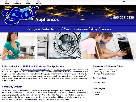 Star Appliances (905-227-2335) - Onglet de site Web - http://starappliances.ca/