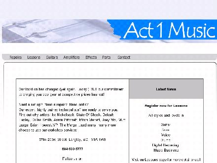 Act 1 Music (604-533-5777) - Onglet de site Web - http://www.act1music.com