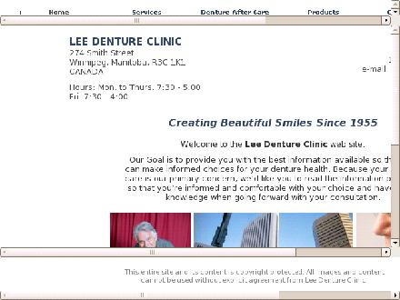 Lee Denture Clinic (204-943-4048) - Onglet de site Web - http://www.leedentureclinic.com