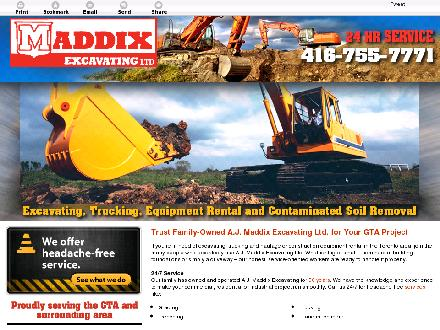 Maddix Excavating Ltd (416-755-7771) - Website thumbnail - http://maddixexcavating.com/