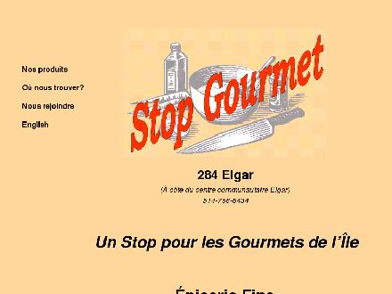 Stop Gourmet (514-766-6434) - Onglet de site Web - http://www.stopgourmet.com