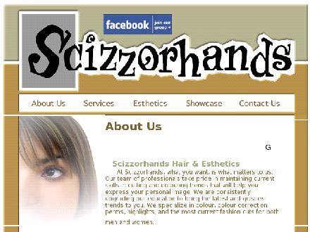 Scizzorhands Hair &amp; Esthetics (519-432-9255) - Website thumbnail - http://www.scizzorhands.com