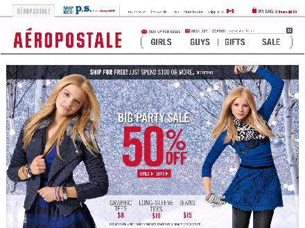 Aeropostale.com - Website thumbnail - http://www.aeropostale.com