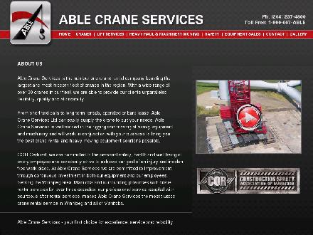 Able Crane Services Ltd (204-237-4800) - Onglet de site Web - http://www.ablecranes.com