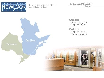 Lunetterie New Look (1-800-463-5665) - Onglet de site Web - http://www.newlook.ca