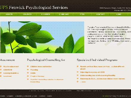 Fenwick Psychological Services (902-701-1323) - Onglet de site Web - http://www.fenwickpsychological.ca
