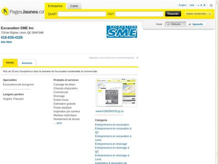 Excavation SME Inc (418-839-4326) - Onglet de site Web - http://www.4188394326.pj.ca