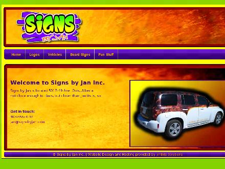 Signs By Jan (403-556-3164) - Website thumbnail - http://www.signsbyjan.com