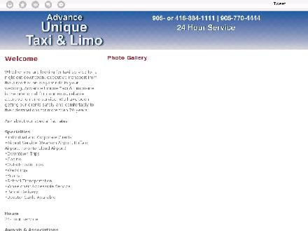 Advance-Unique Taxi &amp; Limousine (905-770-4444) - Onglet de site Web - http://advanceuniquetaxi.com/