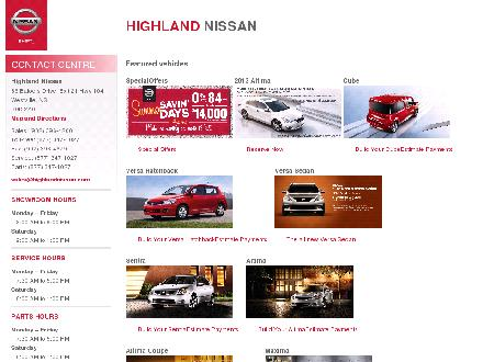 Highland Nissan (1-888-396-4299) - Onglet de site Web - http://www.highlandnissan.com