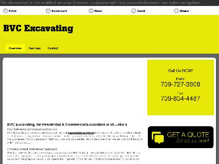 BVC Excavating (709-727-3808) - Onglet de site Web - http://bvcexcavating.ca/