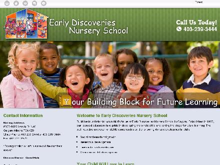Early Discoveries Nursery School (403-239-3444) - Onglet de site Web - http://earlydiscoveries.ca/