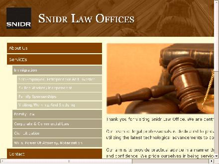 Snidr Law Office (416-495-1555) - Onglet de site Web - http://www.snidrlawoffice.com