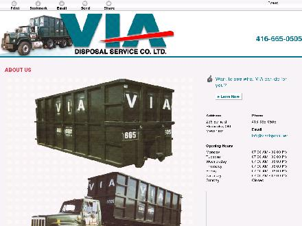 Via Disposal Service Co Ltd (647-495-8539) - Onglet de site Web - http://viadisposal.net/