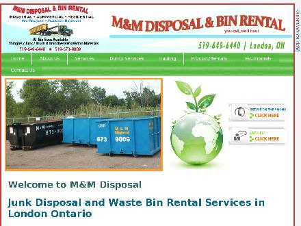 M & M Disposal Services (519-649-6440) - Onglet de site Web - http://www.mandmservices.ca