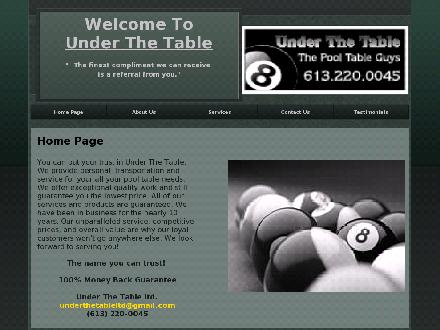 Under The Table-The Pool Table Guy (613-220-0045) - Website thumbnail - http://www.underthetableltd.com