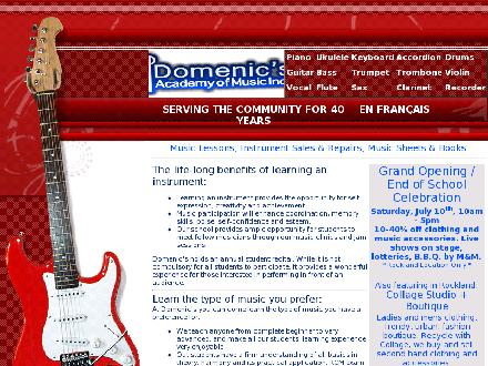 Domenics Academy Of Music (613-837-0124) - Onglet de site Web - http://www.domenicsmusic.com