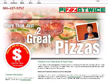Pizza Twice (1-877-550-2714) - Website thumbnail - http://pizzatwice.ca