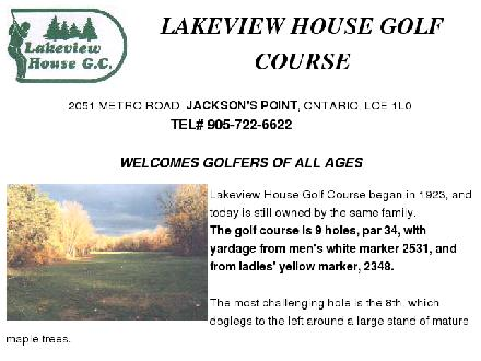 Lake View House Golf (905-722-6622) - Onglet de site Web - http://www.golf-ontario.com/lakeviewhouse
