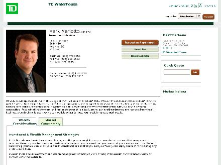 TD Waterhouse Private Investment Advice (1-888-282-1534) - Onglet de site Web - http://advisors.tdwaterhouse.ca/mark.mariotto