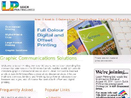 Leech Printing Ltd (204-728-3037) - Website thumbnail - http://www.leechprint.com