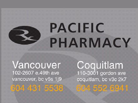 Pacific Prescriptions & Medical Supplies (604-431-5538) - Onglet de site Web - http://www.rxpacific.com