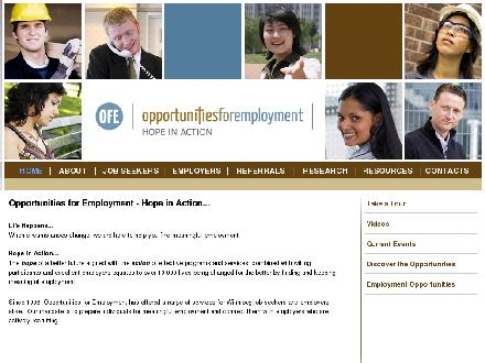 Opportunities For Employment Inc (204-925-3490) - Onglet de site Web - http://www.ofe.ca
