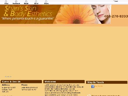 Shari's Skin & Body Esthetics (403-270-8333) - Onglet de site Web - http://sharisskinandbodyesthetics.com/