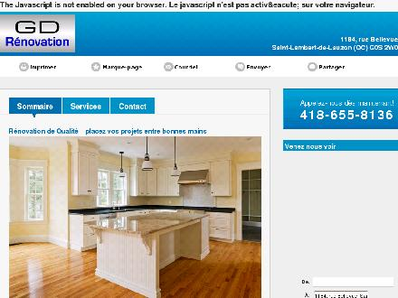 GD Rénovation (418-655-8136) - Onglet de site Web - http://renovationdequalite.com