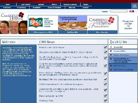 Cambridge Memorial Hospital (519-621-2330) - Onglet de site Web - http://www.cmh.org
