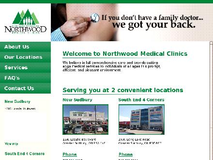 Northwood Medical Clinics (705-560-2227) - Website thumbnail - http://www.northwoodclinics.ca