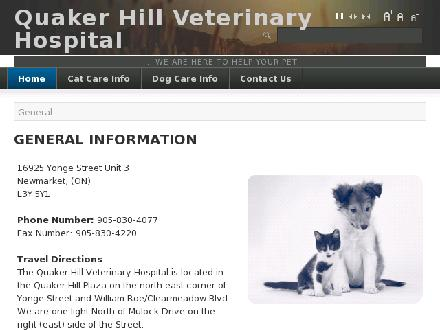 Quaker Hill Veterinary Hospital(Veterinary Clinic) (905-830-4077) - Website thumbnail - http://www.quakerhillvet.ca