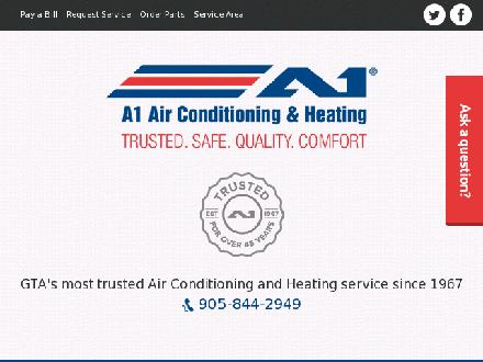A1 Air Conditioning & Heating (905-844-2949) - Onglet de site Web - http://www.a1airconditioning.ca