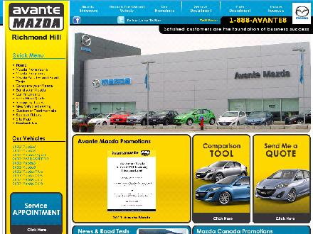 Avante Mazda (905-780-9999) - Website thumbnail - http://www.avantemazda.com