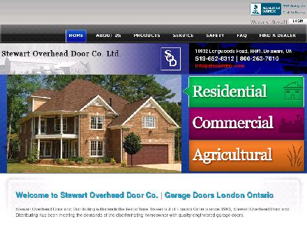 Stewart Overhead Door Co Ltd (519-652-8312) - Onglet de site Web - http://www.stewartdoor.com
