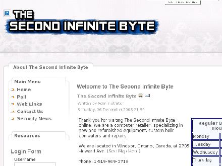 Second Infinite Byte The (519-969-0719) - Onglet de site Web - http://www.thesecondinfinitebyte.com