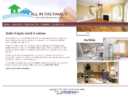 All in the Family Custom Renovation (403-861-3570) - Onglet de site Web - http://www.allinthefamily.ca