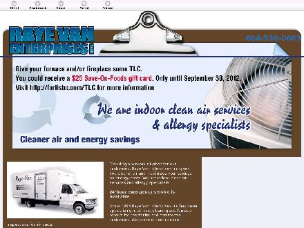 Raye Van Enterprises Inc (604-539-0664) - Website thumbnail - http://furnacerepairing.ca