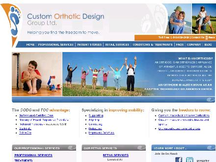 Custom Orthotic Design Group Ltd (905-828-2969) - Onglet de site Web - http://www.customorthotic.ca