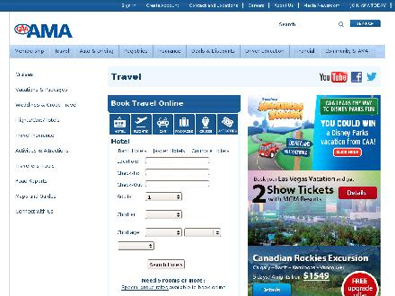 AMA Travel (403-527-8061) - Website thumbnail - http://www.ama.ab.ca/travel