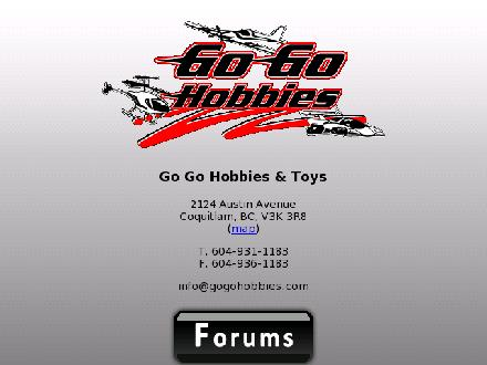 Go Go Hobbies &amp; Toys Ltd (604-931-1183) - Onglet de site Web - http://www.gogohobbies.com